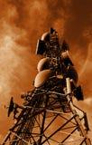 Sepia de la torre de comunicaciones Foto de archivo libre de regalías