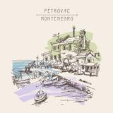 Sepia de tekening van de inktschets van oud fort in Petrovac Montenegro royalty-vrije illustratie