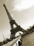 Sepia de Toren van Eiffel Stock Afbeeldingen