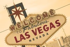 Sepia del frente de la muestra de Las Vegas Fotografía de archivo
