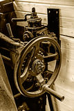 Sepia details of an old steam locomotive interior Royalty Free Stock Photography