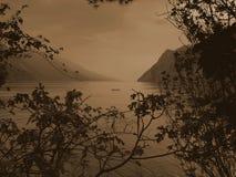 Sepia do lago Garda Fotografia de Stock Royalty Free