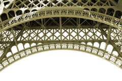 Sepia Eiffel Tower Detail in Paris France. Sepia Tone photo of a the inside arch supports at the base of the Eiffel Tour in Paris, France Royalty Free Stock Photo