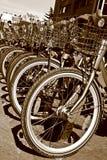 Sepia einer Reihe der bicylce Frontseite ermüdet Lizenzfreies Stockfoto