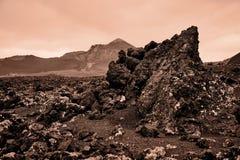 Sepia färbte Bild der vulkanischen Landschaft, Lanzarote stockfotos