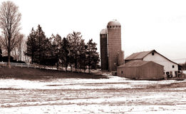 Sepia Farm Stock Photo