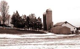 Sepia Farm. Rural farm scene in sepia tones Stock Photo
