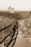 Sepia fenced path to Ballybunion beach Stock Images