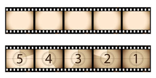 Sepia film strip and countdown. Part of my film collection Stock Image