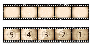 Sepia film strip and countdown. Part of my film collection Royalty Free Stock Images