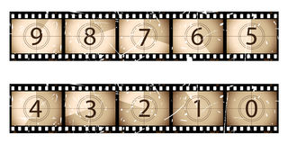 Sepia film strip countdown. Part of my film collection Stock Photography