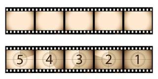 Sepia filmstrook en aftelprocedure Stock Afbeelding