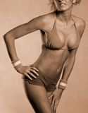 Sepia fitness girl Royalty Free Stock Image