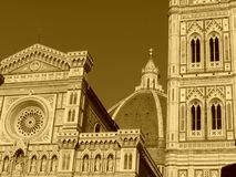 Sepia Florence - the cathedral Royalty Free Stock Photo