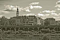 Sepia foto van een oude stad van Glogow, Polen Royalty-vrije Stock Afbeelding
