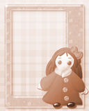 Sepia frame. With vintage cute doll on decorated background Royalty Free Stock Photography