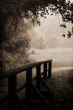 Sepia-gestemde houten brug en weg Royalty-vrije Stock Foto