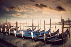 Sepia gondolas Royalty Free Stock Photography