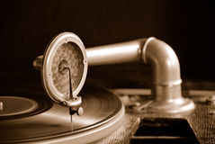 Sepia gramophone. Sepia tinted Gramophone vintage record player Stock Photography