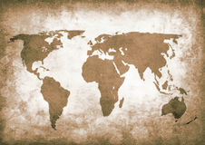 Sepia grunge world map Stock Images