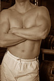 Sepia gym guy Stock Photos