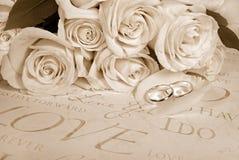 Sepia-Hochzeit Stockfoto