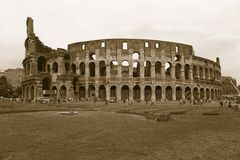 Sepia image of the Colosseum or Roman Coliseum, originally the Flavian Amphitheatre, an elliptical amphitheatre in the centre of t Stock Photo