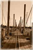 Sepia image looking straight down the boot dock Stock Photo