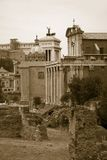 Sepia image of Roman Forum with Temple of Antoninus and Faustina in background, Rome, Italy, Europe Stock Images