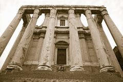 Sepia image of Temple of Antoninus and Faustina built in 141 AD, at the Roman Forum, Rome, Italy, Europe Stock Photography