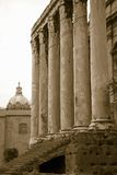 Sepia image of Temple of Antoninus and Faustina built in 141 AD, at the Roman Forum, Rome, Italy, Europe Stock Image