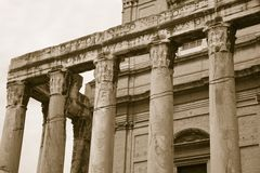 Sepia image of Temple of Antoninus and Faustina built in 141 AD, at the Roman Forum, Rome, Italy, Europe Royalty Free Stock Photos