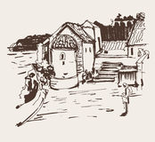 Sepia Ink Sketch Drawing Of Historical Tower In Budva Montenegro Royalty Free Stock Photos