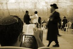 Sepia- jews by wailing wall. Sepia - hasidic jews at the wailing western wall, jerusalem, israel Royalty Free Stock Images