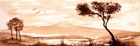 Sepia Landscape. A peaceful sepia watercolor landscape Stock Photo