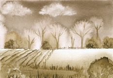Sepia Landscape. Watercolor painting, designed and painted by the photographer Stock Image
