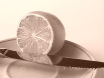 Sepia Lemon, Knife and Plate Stock Photos
