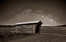 Sepia Mail Pouch Covered Bridge at night. A sepia rendering of a vintage Mail Pouch covered bridge in Ohio farmland under The Milky Way Stock Image