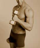 Sepia male fitness model Royalty Free Stock Photography