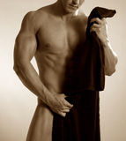 Sepia male with towel Stock Photo