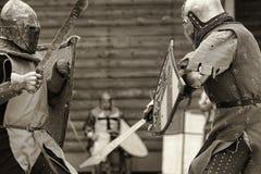 Sepia medieval de la batalla Fotografía de archivo
