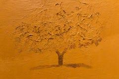 Sepia Monochromatic Art Painting: Single Tree Stock Photos