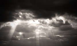 Sepia monochrome picture clouds sky sunset and sunrise, black and white Stock Photo