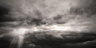 Sepia monochrome picture clouds sky sunset and sunrise, black and white Stock Image