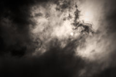 Sepia monochrome picture clouds sky sunset and sunrise, black and white Royalty Free Stock Photography