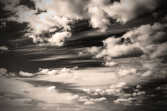 Sepia monochrome picture clouds sky sunset and sunrise, black and white. The contrasting view of the sky Stock Image