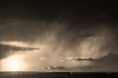 Sepia monochrome picture clouds sky sunset and sunrise, black and white. The contrasting view of the sky Stock Photo