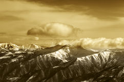 Sepia mountains Stock Photography