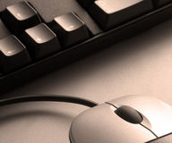 Sepia mouse and keyboard Royalty Free Stock Images
