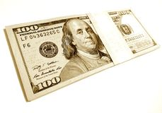 Sepia new one hundred dollars stack Stock Photography